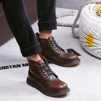 CatchyMarket Genuine Leather Men's Lace-Up Waterproof Combat Boots