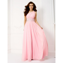 Formale Evening / Prom / Military Ball Dress- Candy Pink Plus Taglie / Petite A-Line una spalla pavimento-lunghezza Chiffon