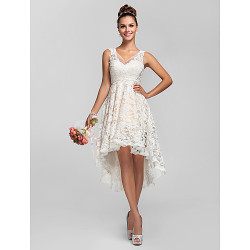 Cocktail Party / Prom / Homecoming / Abito da Cerimonia nuziale- Ivory Plus Size / Petite A-Line / Princess V-Neck merletto asimmetrico
