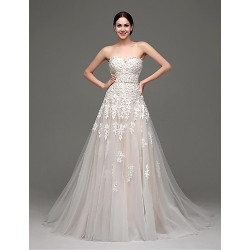 A-Line Abito da sposa-Champagne Sweep / Brush Train Sweetheart Satin / Tulle