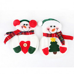2Pcs pupazzo di neve Natale Natale argenteria tavola Dinner Party Decor Holder Holder (colore casuale)