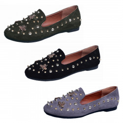 Breathable Women's Classic Metal Rivets Suede Loafers Comfort Flats