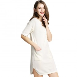 RoundNeck Short Sleeve Knit Ladies Dress