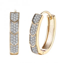 18K Gold Plated Hoop Earrings Diamond Leaf with Lighting Jewelry Box