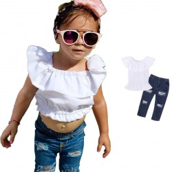 Baby Girl White Butterfly Sleeve Tops Denim Jeans Sets Clothing