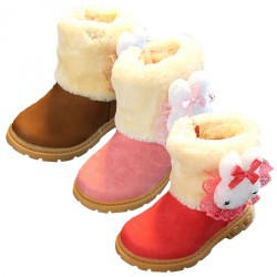 Baby Girls Plush Soft Sole Anti-Slip Waterproof Winter Snow Boots