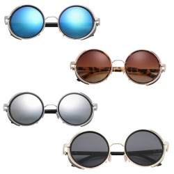 Fashion Retro Round Mirror Sunglasses Full-Rim Polarized Sunglasses
